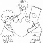 Bart Lisa Maggie los simpsons san valention para dibujar y colorear