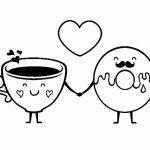 Café y dona rosquilla enamorados para s