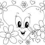 Corazon con flores para el día del amor y la amistad para pintar e iluminar