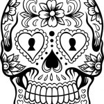 Mexican skull coloring page cut out and decorate