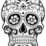 Printable Mexican skull drawings coloring cut out and decorate