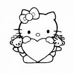 Hello Kittie san valentin con corazon para colorear y dibujar