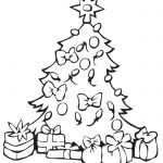 Imagen de Arbol de Navidad con Regalos para dibujar y colorear