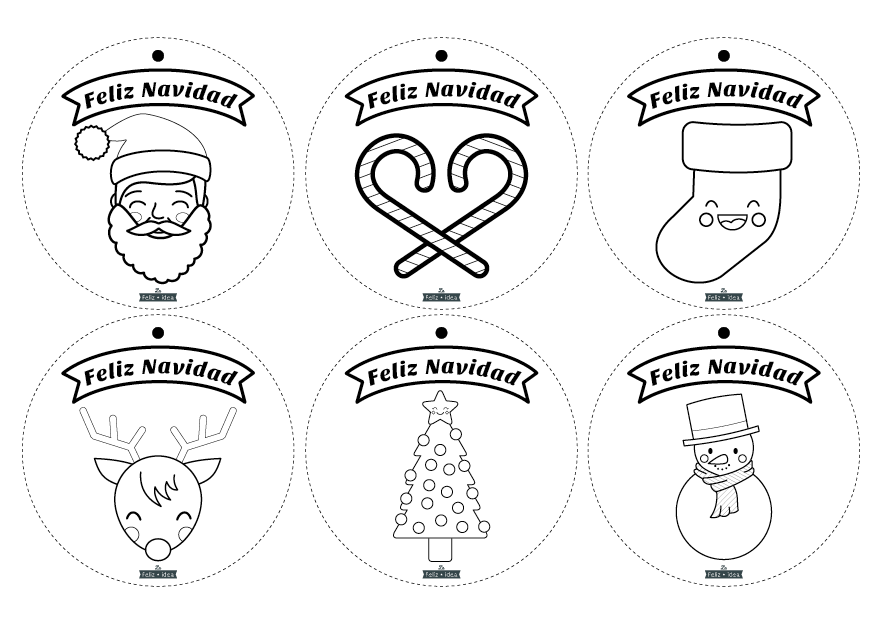Imagen de feliz navidad adornos para dibujar y colorear for Adornos navidenos para colorear y recortar