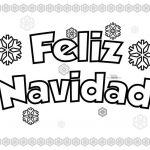 Imagen de Feliz Navidad con Copos de Nieve para dibujar y colorear