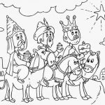 Imagen de los Tres Reyes magos siguiendo la estrella para dibujar y recortar