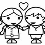 Niños enamorados para el día del amor y la amistad para colorear y adornar