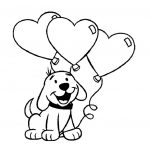 San Valentin imagen de perro con globos en forma de corazon para pintar e imprimir