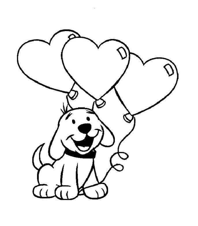 San Valentin imagen de perro con globos en forma de corazon para ...