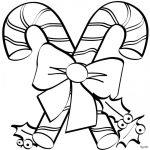 imagen de bastones y oso de navidad para dibujar y colorear