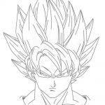 Dibujo de Goku en fase 2 sayan para iluminar y colorear