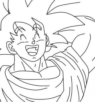 Dibujo de Goku riendose para imprimir y