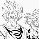 Dibujo de Goku y Gohan para iluminar y dibujar