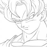 Plantilla de Goku kakarotto fase sayan enojado para dibujar y pintar