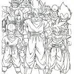 pintura de Goku y los guerreros Z para imprimir y colorear