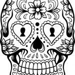 Dibujo de calavera mexicana para colorear recortar y adornar
