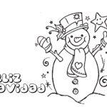 Imagen de Feliz Navidad con Olaf Muneco de nieve para dibujar y colorear