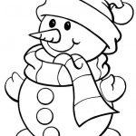 Imagen de Muneco de Nieve con bufanda de navidad para dibujar y colorear