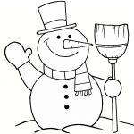 Imagen de Muneco de Nieve de navidad para dibujar y colorear