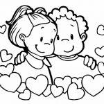 Niños felices enamorados para san valentin para dibujar y pintar