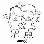 Novios enamorados para san valentin plntilla para dibujar
