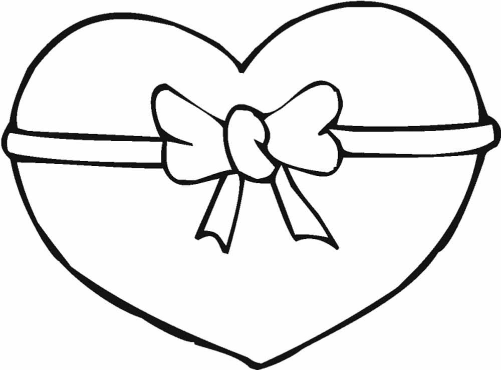 corazon con moño del 14 de febrero para imprimir y recortar
