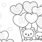 gatitois con globos en forma de corazon para san valentin para iluminar y colorear