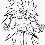 Dibujo de Kakaroto Son Goku fase 3 con el pelo largo para Iluminar y colorear