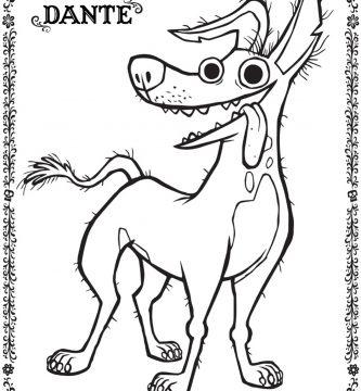 Imagen de Dante perro de coco para colorear imprimir pintar dibujar adornar pelicula de Disney Pixar